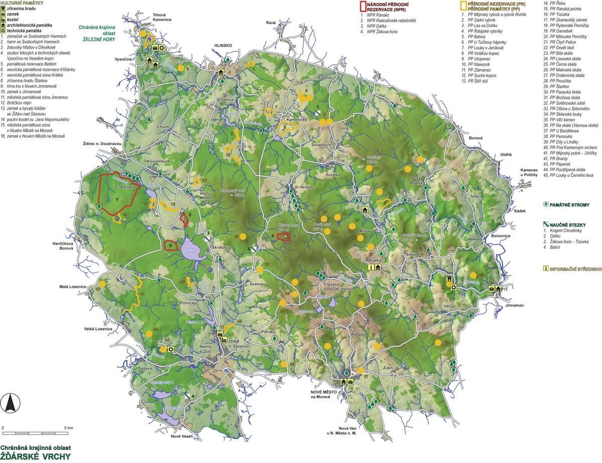 Výsledek obrázku pro Mapa CHKO Žďárské vrchy